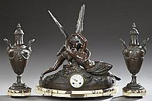 Three Piece Patinated Spelter and Marble Clock Set, late 19th c., the paint decorated enamel dial with a retaimer's name of J. L. Ei..