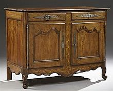 French Provincial Louis XV Style Parquetry Inlaid Cherry Sideboard, early 19th c., the stepped edge curved corner top above two inla...