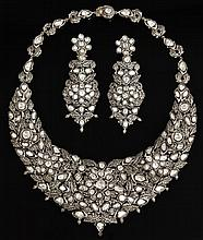 Unusual Three Piece Gold Overlay on Silver and Enamel Diamond Parure, consisting of a necklace and a pair of pendant earrings, mount...