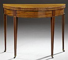 English Hepplewhite Style Inlaid Mahogany Demilune Games Table, late 19th c., the banded top opening to an inset velvet playing surf...