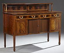 Edwardian Inlaid Mahogany Sideboard, early 20th c., with a banded shelf on turned supports over an inlaid back, over two frieze draw...