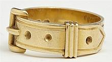 Lady's Victorian 18K Yellow Gold Buckle Ring, Sheffield, 1910, size 6 1/2, Wt.- .24 troy oz.