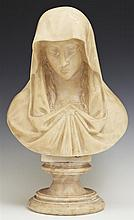 Carved Alabaster Bust of the Virgin Mary, 19th c., on a stepped socle base, H.- 12 1/2 in., W.- 8 in., D.- 5 in.