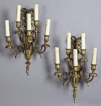 Pair of Louis XV Style Bronze Five Light Sconces, 19th c., with lobed candle cups on floriform bobeches on scrolled leaf and grape d...