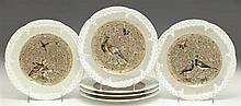 Set of Six Limoges Porcelain Plates, 19th c., with hand painted bird and gilt decoration, made for Gilman Collamore and Co., Union S...
