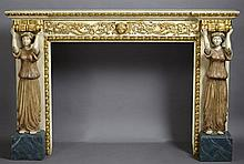 Polychrome and Parcel Gilt Neoclassical Style Fireplace Surround, 20th c., with a foliate carved frieze centered by a masque and fla...