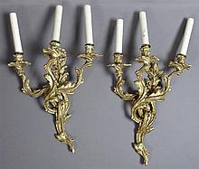 Pair of Louis XV Style Bronze Three Light Sconces, early 20th c., with relief candle cups on floriform bobeches, on swirled leaf rel...