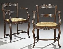 Pair of French Provincial Louis XV Style Carved Oak Rope Seat Armchairs, c. 1900, the serpentine crest rail, over a horizontal splat...