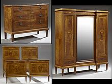 Four Piece French Louis XVI Style Marquetry Inlaid Bedroom Suite, c. 1920, consisting of a triple door armoire, two beds, and a blac...