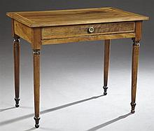 French Louis Philippe Inlaid Cherry and Mahogany Writing Table, mid 19th c., the banded top over a single frieze drawer and wide ski...