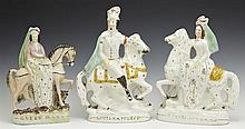 Group of Three Polychromed Staffordshire Figures on Horseback, mid 19th c., consisting of