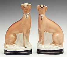 Pair of Staffordshire Figures of Greyhounds, early 20th c., H.- 7 1/2 in., W.- 4 1/8 in., D.- 2 1/2 in.