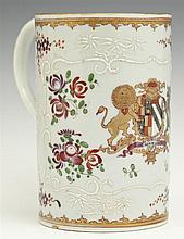 Porcelain Tankard, 19th c., probably by Edme Samson, Paris, in the 18th-century Chinese Export Armorial style, with enameled and po...