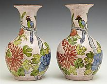 Pair of Oriental Crackleware Baluster Vases, 20th c., with bird and floral decoration, on a pink ground, H.- 9 in., Dia.- 5 3/8 in.