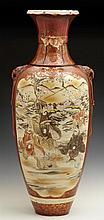 Large Satsuma Baluster Vase, c. 1900, with gilt and moriage panel decorations of figures, flowers, and landscapes, with integral ele...