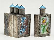 Unusual Chinese Enameled Silver Four Part Folding Snuff Bottle, early 20th c., with enameled stoppers and calligraphy panels, one bo...