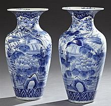 Pair of Japanese Porcelain Baluster Vases, 20th c., with bird and floral decoration with gilt highlights, H.- 18 1/2 in., Dia.- 9 1/...