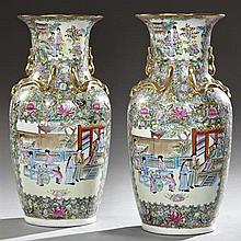 Pair of Large Oriental Famille Rose Baluster Porcelain Vases, early 20th c., the neck with relief gilt salamanders with figural pane...