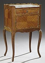 French Louis XV Style Inlaid Mahogany Marble Top Nightstand, c. 1920, the scalloped three-quarter gallery top over an inset highly f...