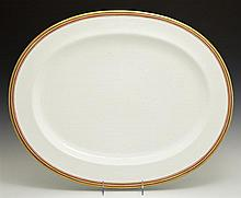 Large Old Paris Porcelain Platter, 19th c., with a gilt rim around orange and brown line banding, H.- 1 1/2 in., W.- 21 1/2 in., D.-...