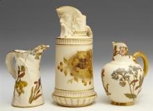 Group of Three Royal Worcester Pitchers, consisting of a mask pitcher, 19th c., #1366, Rd. # 119925; a cream pitcher, 19th c.,