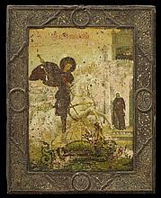 †Russian Devotional Painting, 19th c., of St. Michael slaying the Dragon, oil on tin, unframed, H.- 8 3/4 in., W.- 6 15/16 in.
