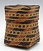Native American Woven Covered Chitimacha Basket, 20th c., H.- 4 1/2 in., W.- 3 1/2 in., D.- 3 1/2 in.