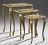 Nest of Three Florentine Tables, 20th c., with gilt and polychromed decoration, Largest- H.- 23 1/4 in., W.- 21 1/4 in., D.- 13 1/2 in.