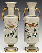 Pair of Bristol Glass Vases, c. 1880, with gilt and enamel decoration of birds and flowers, H.- 10 in., W.- 3 3/4 in., D.- 3 in.