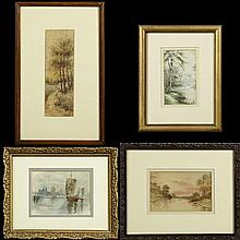 †Group of Four Diminutive Watercolors, consisting of Rhoads,