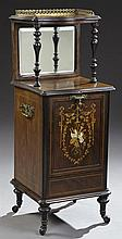 Edwardian Marquetry Inlaid Rosewood Coal Hod, c. 1910, the pierced brass three quarter galleried inlaid top, on turned tapered suppo...