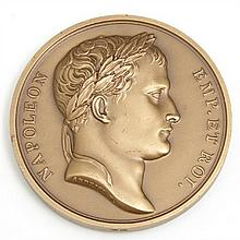 After Francois Jouffroy and Andrieu, Napoleonic Bronze Medallion, 19th c., one side with a bust of Napoleon, the other the Battle of...