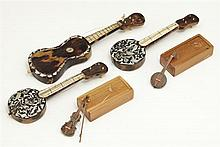Group of Five Anglo Indian Mother-of-Pearl Inlaid Miniature Instruments, 19th c., three of tortoise shell, two in original carved wo...