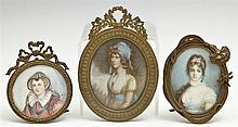 †Group of Three Miniatures on Ivory, late 19th c., one of a woman in a white collar, signed indistinctly l.r., in a brass table top f..