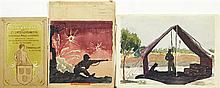 †K. Degenhardt, Group of Three Watercolors, 20th c., one of soldiers in a tent; one an exhibition program cover from 1906; and one of..