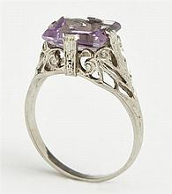 Lady's 14K White Gold Dinner Ring, c. 1920, with a pale emerald cut approx. 3 ct. amethyst, on a pierced band, size 3 3/4
