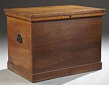 Large American Carved Cherry Blanket Chest, 19th c., the lifting top over an ogee stepped edge to a plinth base, H.- 30 in., W.- 40...