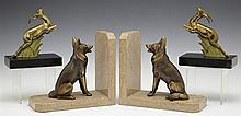 Two Pair of Art Deco Spelter Bookends, c. 1930, one with gilt German Shepherd dogs on brown marble bases, the other with gilt gazell...