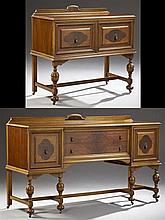 Two Piece Jacobean Style Carved Mahogany Dining Suite, c. 1920, by Emrich, consisting of a sideboard and server with arched backs, o...