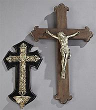 Group of Two Crucifixes, early 20th c., one with a Holy Water Font, Larger- H.- 22 in., W.- 13 1/2 in., D.- 2 1/2 in.