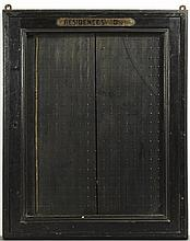 French Ebonized Hotel Key Cabinet, 19th c., for wall mounting, with a glazed door with a brass plaque