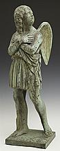 Patinated Bronze Angel Figure, early 20th c., with crossed arms gazing heavenward, H-. 21 in., W.- 6 1/2 in., D.- 6 1/2 in.