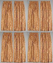 Four Pair of Lined Silk Drapes, 20th c., with embroidered colored floral and leaf decorations, on a terracotta ground, Each Pair- H....