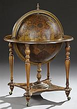 Terrestrial Globe Bar, mid 20th c., the brass finial over a 16th century inspired decorated globe, centered by a Zodiac themed belt,...