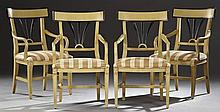 Set of Four Austrian Biedermeier Revival Carved Walnut Armchairs, 20th c., the lacquered edge curved rail over a pierced lacquered s...