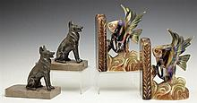 Two Pair of Bookends, c. 1930, one of patinated spelter German Shepherd dogs, on tan marble bases; the second ceramic, of tropical f...