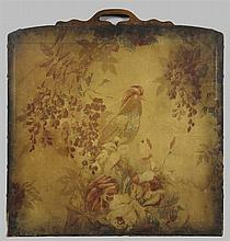 Oilcloth Fire Screen Panel, c. 1920, with floral and rooster decoration, H.- 30 in., W.- 28 1/2 in., D.- 7/8 in.