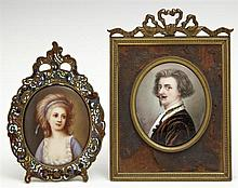 Miniature Portrait of a Gentleman, 19th c., porcelain plaque, signed Peretti O., presented in a brass table top frame, together with...