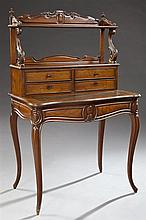French Louis XV Style Carved Mahogany Bonheur du Jour, 19th c