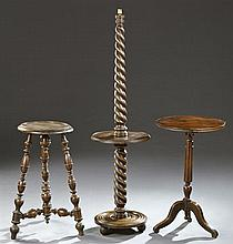 Three Pieces of French Turned Furniture, 19th c., consisting of an oak and birch organ lamp with twisted supports, a Louis Philippe...